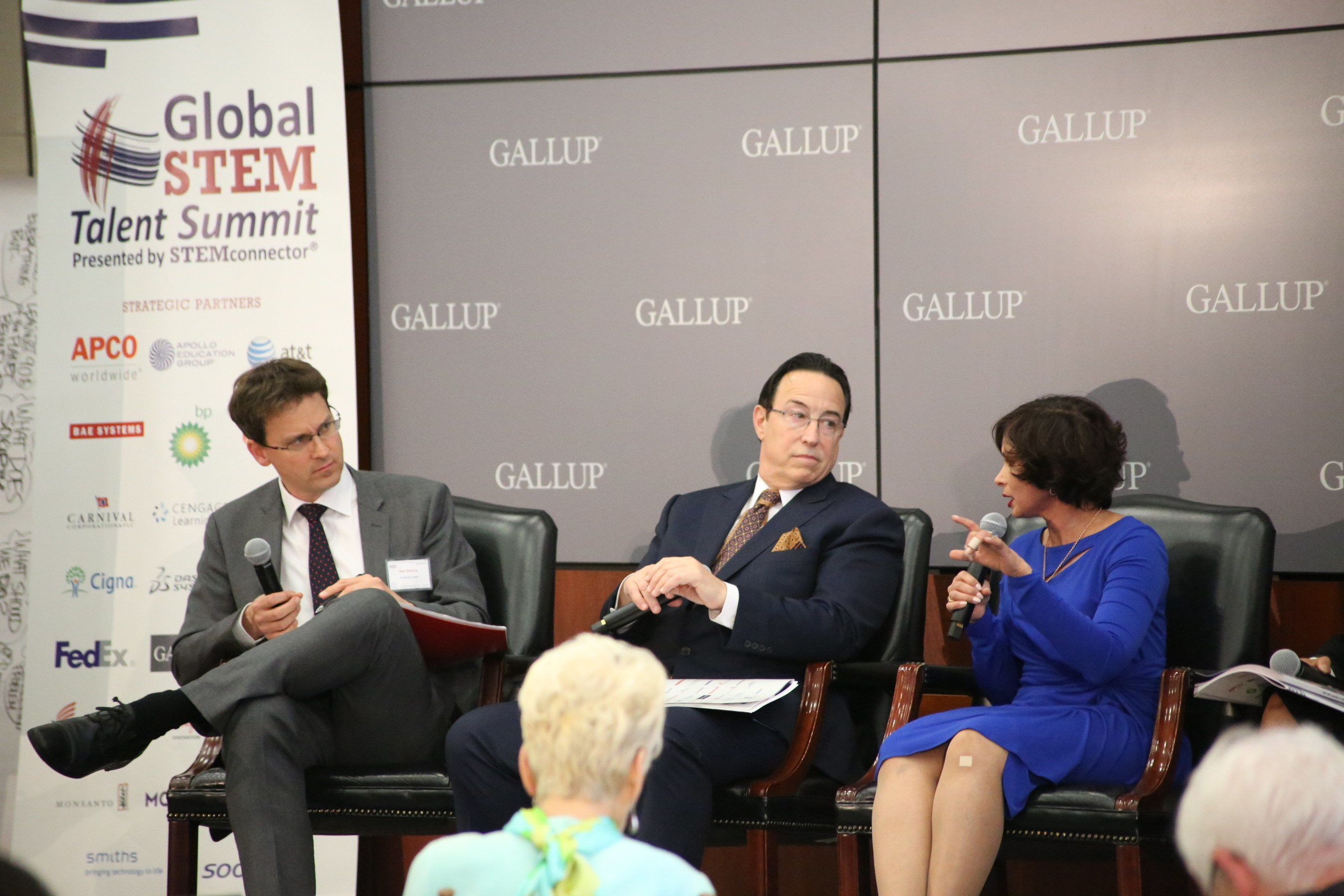 Financial Times Economics Editor, Sam Fleming (l) discusses challenges to developing skilled talent with CEO of Healthcare, Michael Norris, Sodexo North America (c) and Seema Kumar, vice president of innovation, Johnson & Johnson (r) at the 2016 Global STEM Talent Summit in Washington D.C. April 28, 2016.