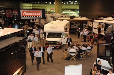 Winnebago Industries' display at the 2012 National RV Trade Show in Louisville, KY, highlighted several new products including the affordable new Winnebago Minnie Winnie shown in the center of the photo.  (PRNewsFoto/Winnebago Industries, Inc.)