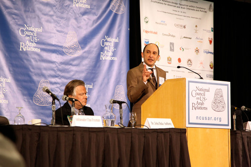 Mr. Akbar Al Baker, Chief Executive Officer of Qatar Airways, speaking to the National Council on US-Arab ...