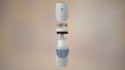 The eSpring(TM) Water Treatment System combines a carbon block filter and ultraviolet (UV) light with smart electronic system monitoring. This simple modular construction makes it easy to clean the unit and replace the filter cartridge.  (PRNewsFoto/Amway)