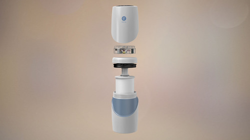 The eSpring(TM) Water Treatment System combines a carbon block filter and ultraviolet (UV) light with smart ...