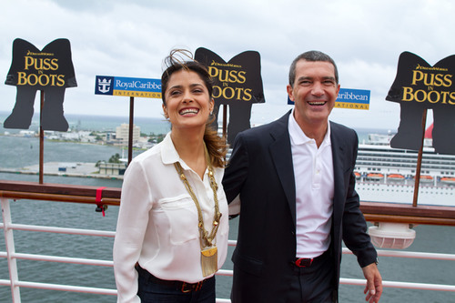 Antonio Banderas and Salma Hayek attended the red carpet premiere of DreamWorks Animation's newest movie, ...