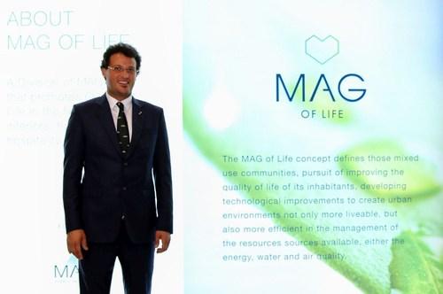 MAG Property Development CEO Talal M Al Gaddah unveils the MAG of Life brand at Cityscape 2016 Dubai. ...
