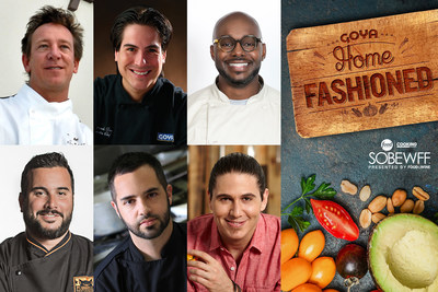 """Left to right: Sean Brasel, executive chef and owner of Meat Market; Fernando Desa, Goya's executive chef; Richard Ingraham, personal chef to Dwayne Wade; Jose Mendin, executive chef of The Pubbelly Group; Richard Plasencia, chef of Baptist Health South Florida; and Chef James Tahhan, co-presenter of Telemundo's national morning show """"Un Nuevo Dia."""""""