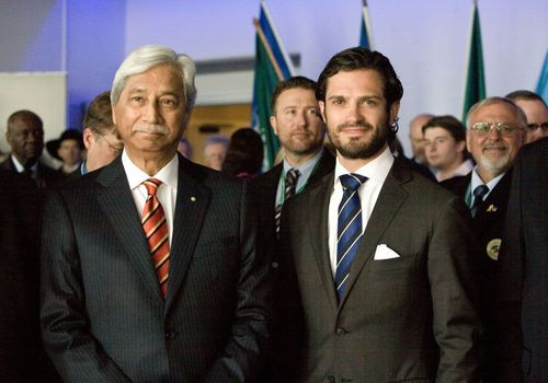 Hamid Ibrahim, chairman of the World Veterans Federation together with Prince Carl Philip of Sweden, at the opening ceremony of Peace and Security Summit 2013.