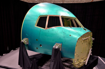 Spirit AeroSystems, The United States Air Force, and The Boeing Company celebrated the completion of the first forward fuselage 41 section for the KC-46A tanker at Spirit's Wichita, Kan. facility. (PRNewsFoto/Spirit AeroSystems, Inc.) (PRNewsFoto/SPIRIT AEROSYSTEMS, INC.)