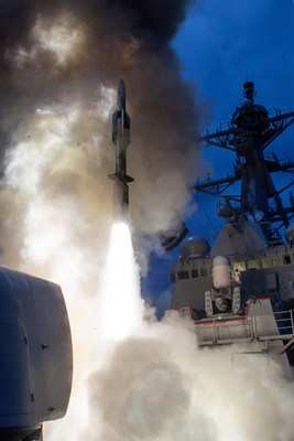 USS John Paul Jones launches a Raytheon-made Standard Missile-6 during testing.