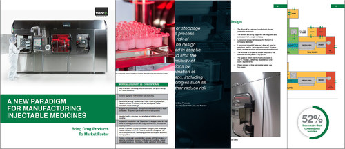 """The white paper """"A New Paradigm for Manufacturing Injectable Medicines"""" provides pharmaceutical manufacturing leaders with a roadmap to fill-finish facility modernization. It discusses a solution that specifically supports efficient production of a varied portfolio--the integration of aseptic filling robotics in a gloveless isolator, and using nested container and closure formats. Companies that take advantage of this leap in standardization and automation will bring their drug products to market faster and beat their competition, achieving superior market share and profitability. (PRNewsFoto/Vanrx Pharmasystems Inc.)"""