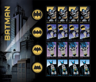 The 2014 limited-edition USPS Forever Batman stamp series. (PRNewsFoto/U.S. Postal Service)