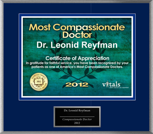 Patients Honor Dr. Leonid Reyfman for Compassion