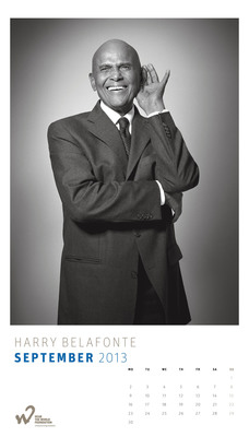 Harry Belafonte poses for the 2013 Hear the World Calendar to help raise awareness around the neglected issue of hearing health and the serious consequences of hearing loss. All proceeds from the sale of the calendars will go to projects supported by the charitable Hear the World Foundation, which runs a global campaign to help people in need as a result of hearing loss. Available at www.hear-the-world.com at a price of $38.35 (EUR 29.90/CHF 34.90) - the perfect gift for those who love celebrity photographs and want to support a good cause.  (PRNewsFoto/Hear the World)