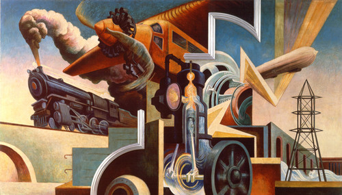 "Thomas Hart Benton (1889-1975), American. America Today, 1930-31. Ten panels: distemper and egg tempera on gessoed linen with oil glaze. The Metropolitan Museum of Art, New York. Gift of AXA Equitable [2012].  Instruments of Power, 92 x 160"".  (PRNewsFoto/AXA Equitable)"