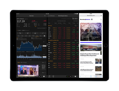 The Bloomberg Professional app for iPad Pro combines desktop-class CPU performance and powerful new multitasking features to deliver real-time data, comprehensive news, technical graphs, portfolio tracking and Instant Bloomberg (IB) to Bloomberg customers.