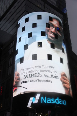 Blackbaud is takes over the Nasdaq tower at Times Square to promote what its customers are doing for #GivingTuesday. Blackbaud is excited to help raise awareness for organizations like Wings for Kids right here in our own backyard.