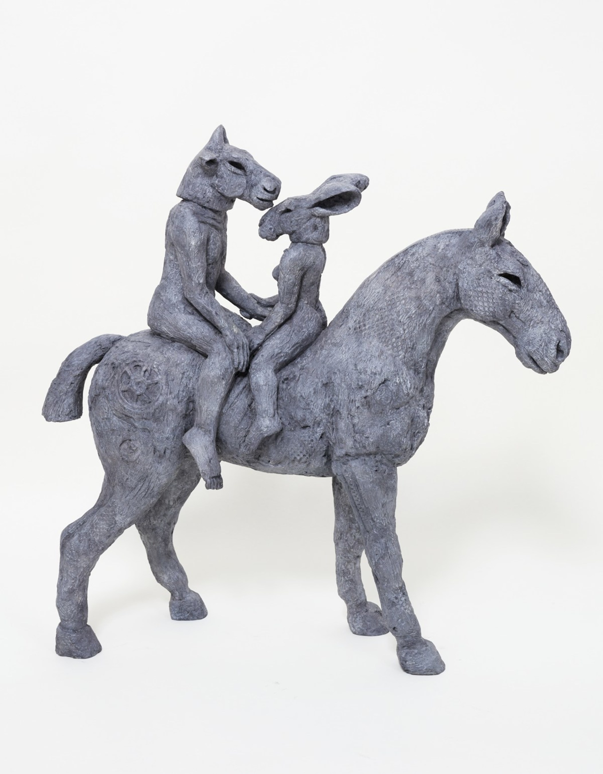 """""""Lovers on Horseback"""" by Sophie Ryder 2013  Bronze  23 x 23 x 8 inches Edition of 9"""