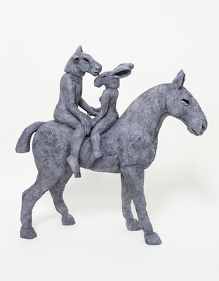 """Lovers on Horseback"" by Sophie Ryder 2013  Bronze  23 x 23 x 8 inches Edition of 9"