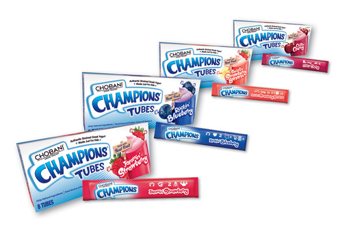 Chobani Champions Tubes give kids simple authentic strained Greek low-fat yogurt with grab-and-go convenience plus the wholesome goodness of real fruit and only natural ingredients. (PRNewsFoto/Chobani)