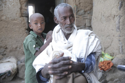 Birhanu, 73, lives in the Amhara Region of Ethiopia. He is married with eight kids. He is a farmer who produces millet and teff. Due to the drought, he has not harvested for some time, and in addition, two of his oxen have died and he was obliged to sell three others. Now he has only one ox and a calf, as well as eight sheep, which are in good condition. The millet farm is completely destroyed and doesn't even have seeds for the next cultivation.
