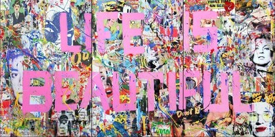 Mr. Brainwash (B. 1966 - ); Life is Beautiful Mural, 2015; Mixed Media on Canvas; 72 x 144 inches
