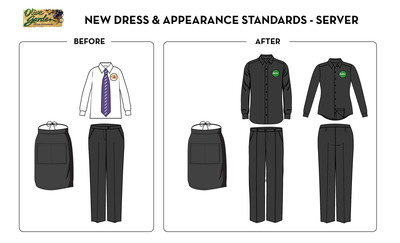 Olive Garden servers now wear a contemporary all-black uniform as part of the brand's efforts to enhance its in-restaurant dining experience.