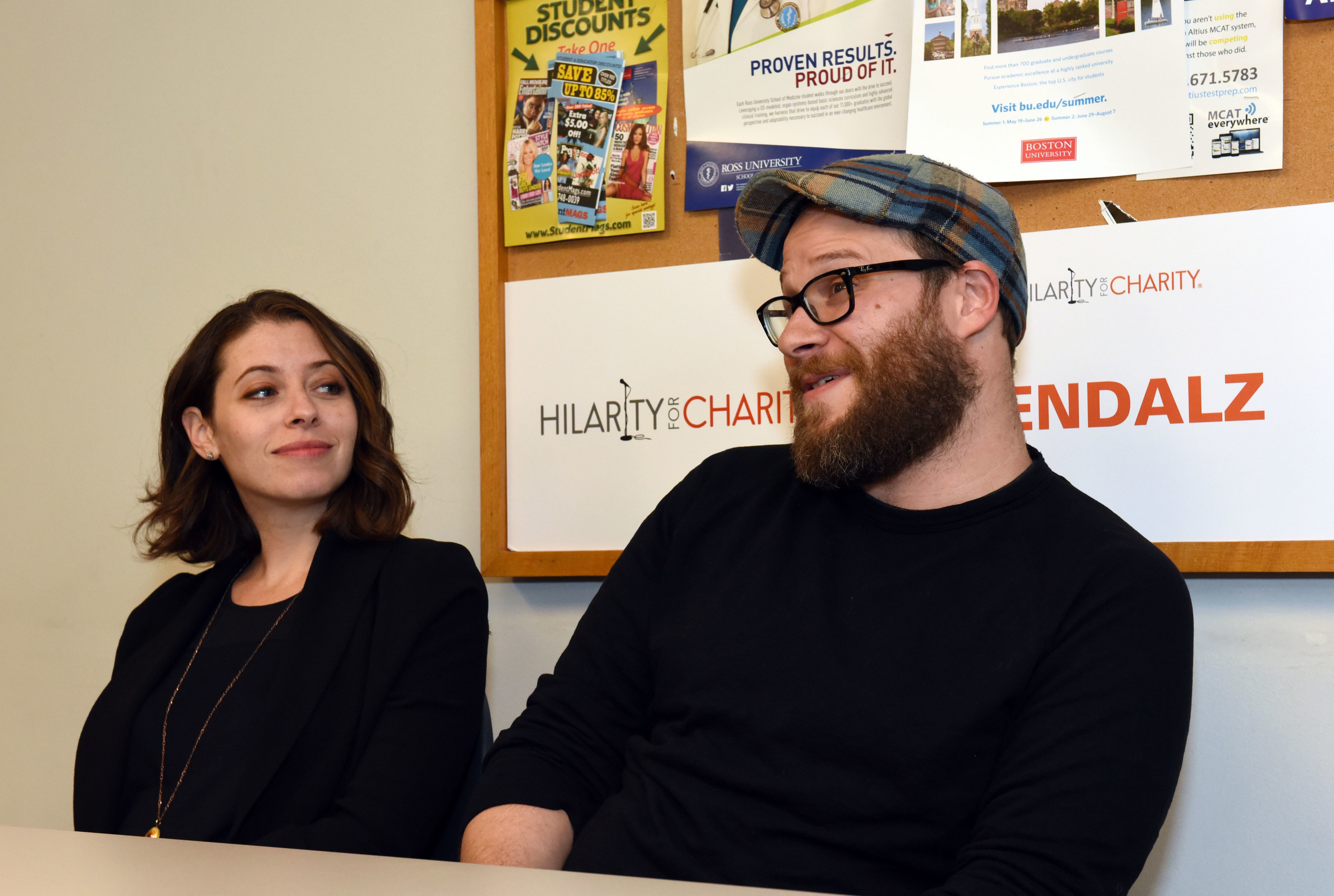 Lauren Miller Rogen and husband Seth Rogen share their Alzheimer's story with media during the Hilarity for Charity U event at the University of Vermont in Burlington, Vt. on Saturday, April 25, 2015. UVM's Pi Kappa Alpha fraternity and Alpha Chi Omega sorority this year raised more than $30,000.00 for Hilarity for Charity U, benefiting the Alzheimer's Association. (ALISON REDLICH/AP Images for Hilarity For Charity U)