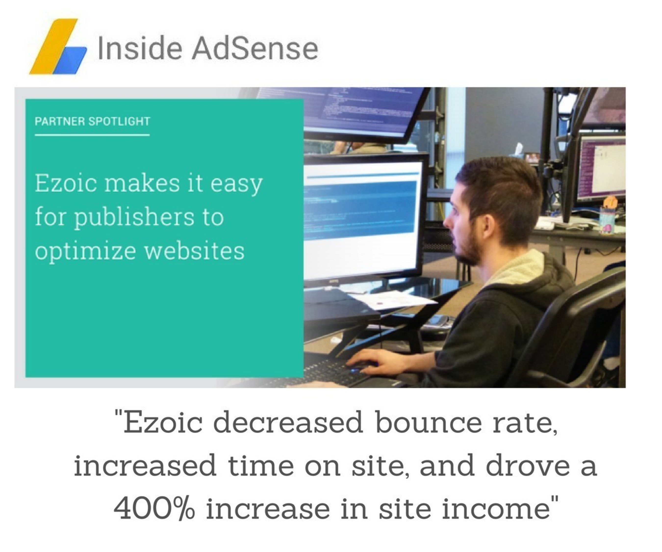 """Ezoic increases website monetization by 400%!"""