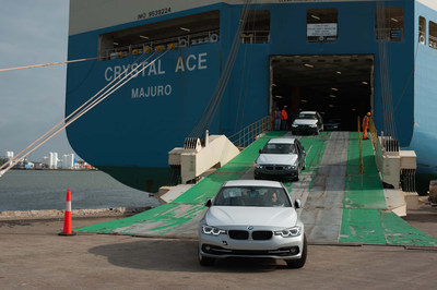 BMW vehicles coming off of a vessel during the official opening of the BMW Group's newest Vehicle Distribution Center on April 20, 2016 at the Port of Galveston, TX.
