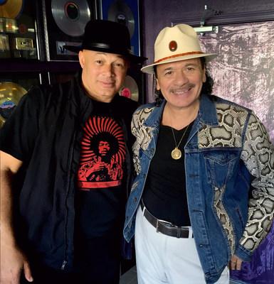 "Narada Michael Walden and Carlos Santana in the studio collaborating on Jennifer Saran's new single ""Wake Up"" - an inspiring new world peace anthem"