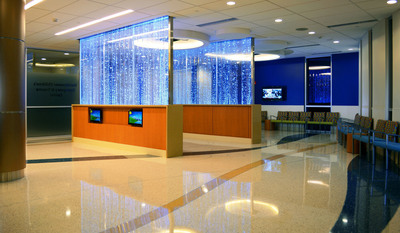 The lobby of the new Steinbrenner Children's Emergency/Trauma Center at St. Joseph's Children's Hospital features an abundance of kid-friendly decorations and built-in interactive activities to provide entertainment, distraction and comfort to children and families.  (PRNewsFoto/St. Joseph's Children's Hospital)