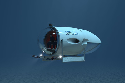 With its large 180-degree borosilicate glass dome, OceanGate's Cyclops manned-submersible will offer clients a chance to examine the environment, collect samples, and deploy technology in subsea settings in person and in real time. When commercially available in 2016, Cyclops will be the only privately owned deep-water (greater than 2,000 meters/6,600 feet) manned submersible available for contracts.(PRNewsFoto/OceanGate Inc.)