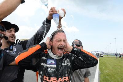 Battling temps over 100 degrees, Bucky Lasek drove his Subaru to third place in Red Bull GRC at Daytona International Speedway. (PRNewsFoto/Subaru of America, Inc.)