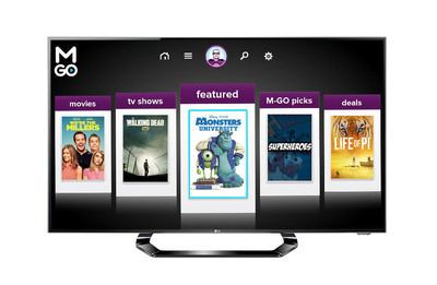 LG Electronics announced today its U.S. Smart TVs will now include M-GO, a new movie and TV streaming service. (PRNewsFoto/LG Electronics USA, Inc.) (PRNewsFoto/LG ELECTRONICS USA, INC.)