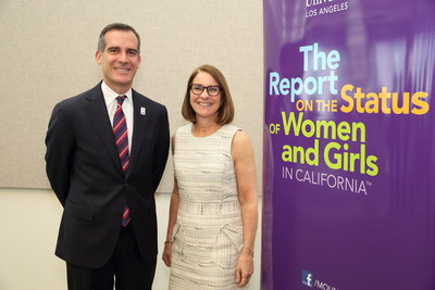 Los Angeles Mayor Eric Garcetti with Mount Saint Mary's University President Ann McElaney-Johnson at the release of the L.A. university's 2016 Report on the Status of Women and Girls in California.
