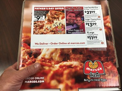 """Looking for the perfect Father's Day gift?  How about pizza and national recognition with your dad's picture on pizza box toppers across the country through Marco's Pizza Facebook promotion.  Post why your Father is """"Magnifico"""" for a chance to win."""