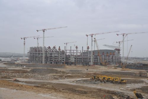 The new 65,000 seat main stadium under construction for the first European Games in Baku in June next year ...