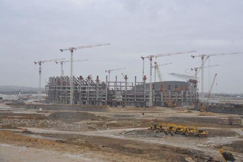 The new 65,000 seat main stadium under construction for the first European Games in Baku in June next year starts to take shape in Baku. (PRNewsFoto/Baku 2015)