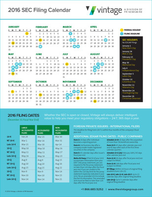 Download the SEC Holiday and Filing Deadline calendar now: https://e.prnewswire.com/SEC-2016-Calendar-email.html