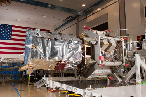 The GeoEye-2 satellite undergoes assembly, integration and test of the optical payload at Lockheed Martin, Space Systems Company's Sunnyvale, California facility.  (PRNewsFoto/GeoEye, Inc.)
