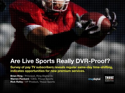 Thuuz Sports and Ring Digital llc conducted a groundbreaking survey on Sports DVR Usage. The results are published in an eBook available as a free download.