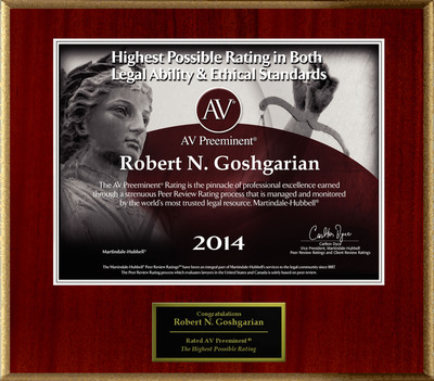 Attorney Robert N. Goshgarian has Achieved the AV Preeminent(R) Rating - the Highest Possible Rating from Martindale-Hubbell(R).  (PRNewsFoto/American Registry)