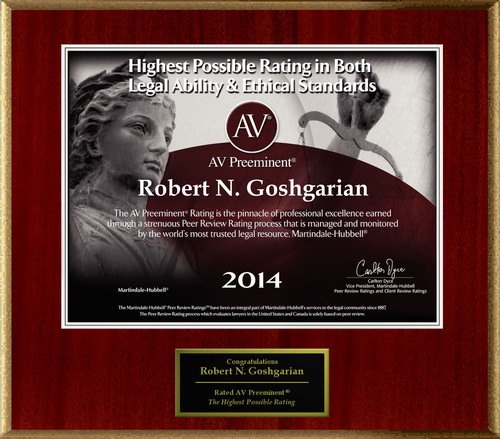 Attorney Robert N. Goshgarian has Achieved the AV Preeminent(R) Rating - the Highest Possible Rating from ...