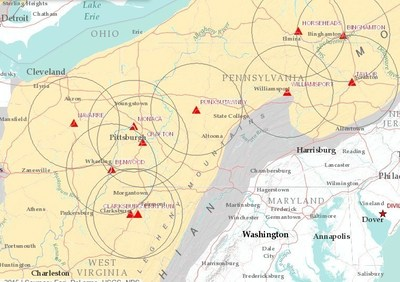 Unimin Energy Solutions - Marcellus/Utica Terminal Network (shown with 50 mile service radius)