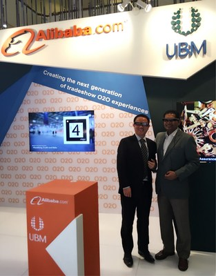 Yi Qian, Director of Business Development for Alibaba B2B Business Unit  and M Gandhi, Managing Director- ASEAN Business, UBM Asia doing the demonstration at Alibaba and UBM booth at PWTC during MIFF 2016, 1-5 March.