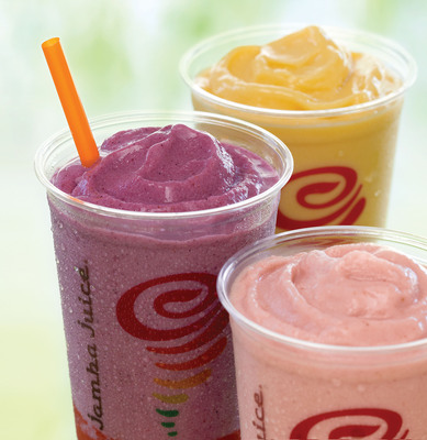 Jamba Juice Supports Customers' Weight Management Goals With Fit 'n Fruitful Line of Smoothies With Lean Advantage Boost. Made with real whole fruit, the meal substitutes are healthy, nutritious, and contain two or more servings of fruit. The Fit 'n Fruitful smoothies are available in three delightful flavors: Strawberry Raspberry Banana, Berry Blend and Peach Mango.  (PRNewsFoto/Jamba Juice Company)