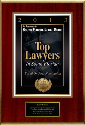 """Larry S. Rifkin Selected For """"Top Lawyers In South Florida"""".  (PRNewsFoto/American Registry)"""