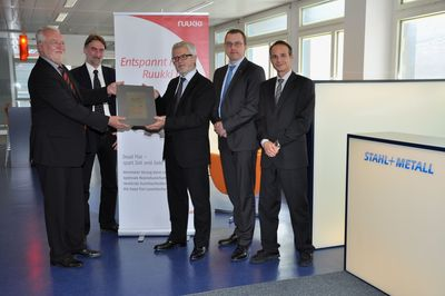 Representatives of Ruukki hand over the Certified Partner Certificate to Stahl+Metall AG's representatives. From left Franz J. Kochhan, Managing Director, Ruukki Deutschand GmbH, Thomas Sperandio, Product manager and Ueli Müller, COO (Stahl+Metall), Roman Kaiser, Vice President, Sales (Ruukki) and Roger Zehnder, CEO (Stahl+Metall).