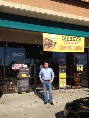Van Dai stands outside his new Dickey's Barbecue Pit location in North Dallas. New location opens on Thursday with a three day grand opening celebration.