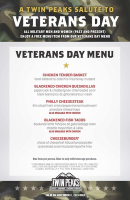 U.S. Military and Veterans invited to dine-in on November 11 and enjoy an exclusive menu.
