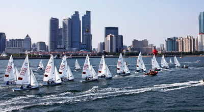 Sailors from all over the world compete in Fushan Bay, Qingdao, China
