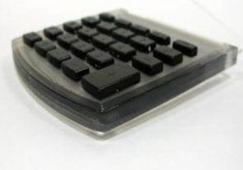 Computer Keyboard 3D Printed in Digital Material Combinations of Objet Clear Transparent material with Objet Rigid Black Material.